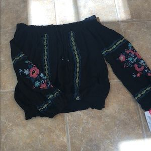 NWT Xhilaration Off the Shoulder Embroidered Shirt